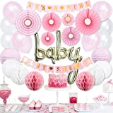 50 PCS Pink and Gold Baby Shower Decorations for Girl - Its a Girl Baby Shower Decoration | Baby Girl Shower Decoration | Oh Baby Baby Shower Decorations Girl | Baby Girl Baby Shower Decorations