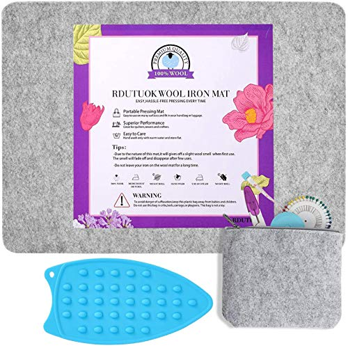 Rdutuok 17x13.5 Inches Wool Pressing Mat for Quilting Ironing Pad Easy Press Wooly Felted Iron Board for Retains Heat, Great for Quilting & Sewing Projects