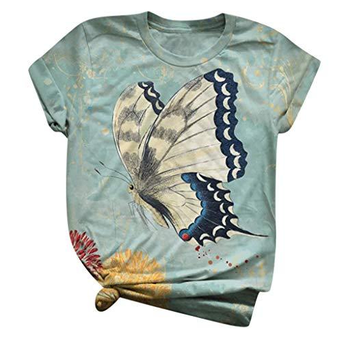 Tops T-Shirt Frauen Plus Size Kurzarm 3D Animal Printed O-Neck Bluse (M,2Grün)