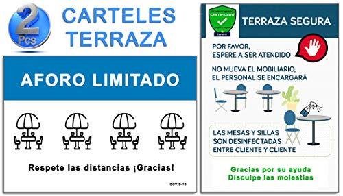 Señalización Terraza Covid-19 | Pack 2 Carteles Terraza Bar - Restaurante | Aforo Limitado + Terraza Segura | Señales COVID 19 Autoinstalables | 21 x 30 cm | Descuentos por Cantidad