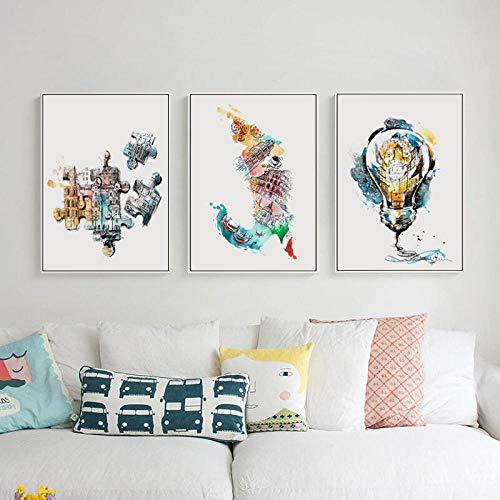 IGZAKER Poëzie Moderne Abstracte Schets Aquarel Perspectief Canvas Schilderij Kunst Poster Foto Muur Woondecoratie Muurschildering-40x60cmx3pcs geen frame