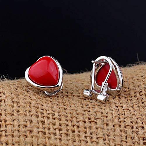 LOt S925 Pendiente de Plata Esterlina Hebilla de Oreja Mujer Moda Geométrica Roja Forma de Amor Perno Prisionero de OrejaForma de amor