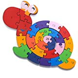 Schnecke Zahlenpuzzle Holzspielzeug | Zahlen und Buchstaben | Pädagogisches Spielzeug für klein-Kinder ab 3 Jahre mit Sicherung