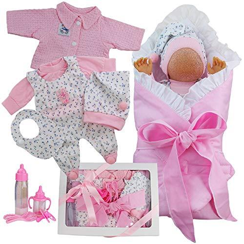 Kindabox Abbigliamento per bambole, 11 pezzi, per bambole, fino a 43 cm, rosa (senza bambola)