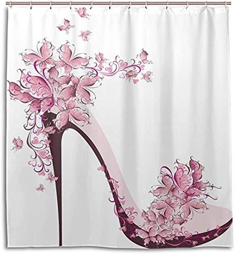 HNFY Duschvorhänge Wasserdicht Schimmel Proof Mehltau Rosa Schuh Schmetterling Waschbar Polyester Bad mit 12 Haken für Badezimmer Home Decoration 240X200CM