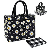 Lunch Bags for Women and Girls Cute Lunch Tote Bag Daisy Lunch Box with a Placement for Work School,Black