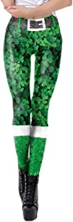 St Patricks Day Briskorry Hosen Grün Shamrock Drucken Leggings Jahre Retro Skinny Pants Partyhosen Irland Fasching