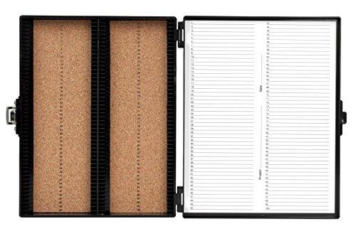Heathrow Scientific HS15994G Premium Microscope Slide Box, 100-Place, Cork, ABS, Black, 208mm Length, 175mm Width, 34mm Height