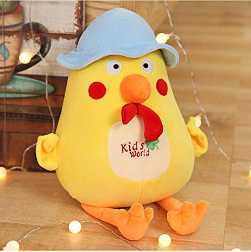 Creative Yellow Chick with Hat Stuffed Animal Plush Toy Cute Chicken Doll Soft Cartoon Pillow Cushion Kid Birthday Gifts 40Cm