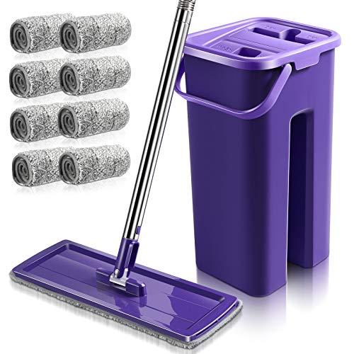 MASTERTOP Wischmopp und Putzeimer Set - Bodenwischer mit 8 Mikrofaser Wischpads, für Bodenreinigungssystem Nass, trocken, handfreier Küchenreiniger