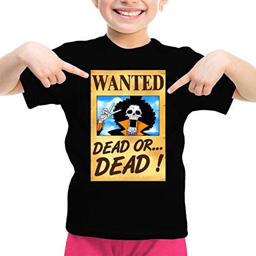 T-Shirt Enfant Fille Noir One Piece parodique Brook Wanted : Un Wanted Qui Tue !! YOHOHOHO !!! (Parodie One Piece)