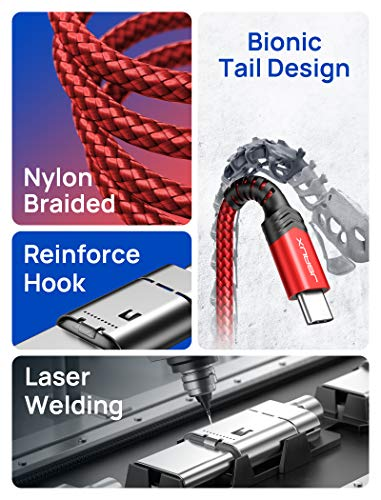 USB Type C Cable 3A Fast Charging [2-Pack 6.6ft], JSAUX USB-A to USB-C Charge Braided Cord Compatible with Samsung Galaxy S10 S9 S8 S20 Plus A51 A11,Note 10 9 8, PS5 Controller, USB C Charger-Red