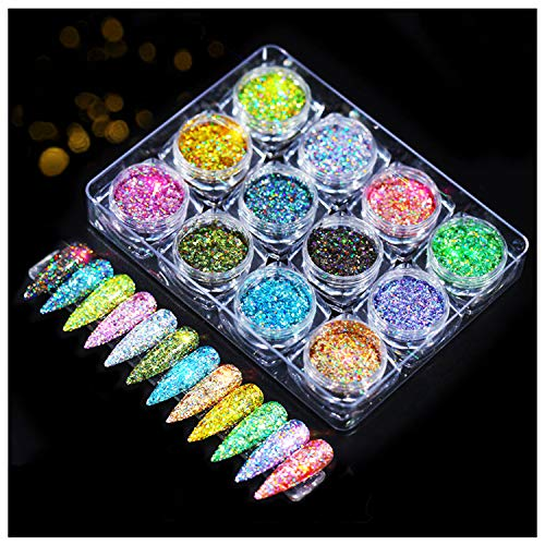 Holographic Nail Powder Set 12 Colors/set Splarkly Flashing Crystal Sequins,Nail Sequins Flake Acrylic Manicure Paillettes Ultrathin Face Body Glitters for Nail Art Decoration & DIY Crafting (Dark)