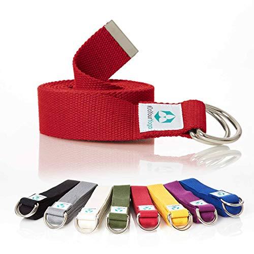 """Correa para yoga """"mandira""""/Yoga-belt cinturón 100% de algodón con esquinas de metal-Anillo-cierre/250 x 3,8 cm/disponible en diferentes coloures rojo"""