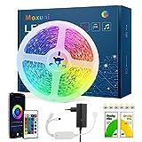 Striscia Led 10M, Maxuni Bluetooth Luci Led RGB 5050 Musicale, Controllato da APP e Telecomando Led Colorati per Camera,TV,Cucina Sottopensile Decorazione[Classe di efficienza energetica A+++]