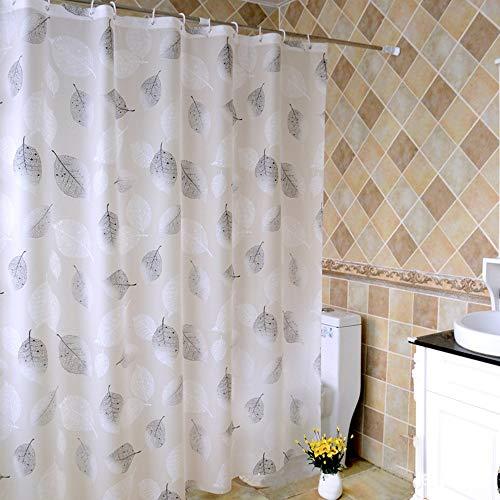 N/B Tenda per Doccia Bianco Foglia Nera Impermeabile Antimuffa Trasparente Tenda più Spessa Peva per Bagno Doccia 150x200 cm A