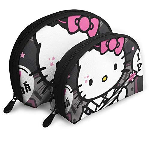 Bonito diseño de Hello Kitty de dibujos animados rosa, bolsa de maquillaje portátil, neceser set para mujer, bolsa de viaje con cremallera, bolsa organizadora, 2 unidades