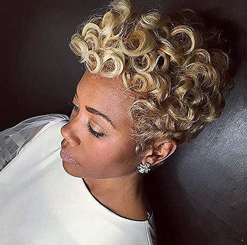 FFWIGS Afro Korte Krullend Blonde Pruiken Voor Zwarte Vrouwen Synthetische Blonde Haar Hittebestendige Dagelijkse Party Pruik 8