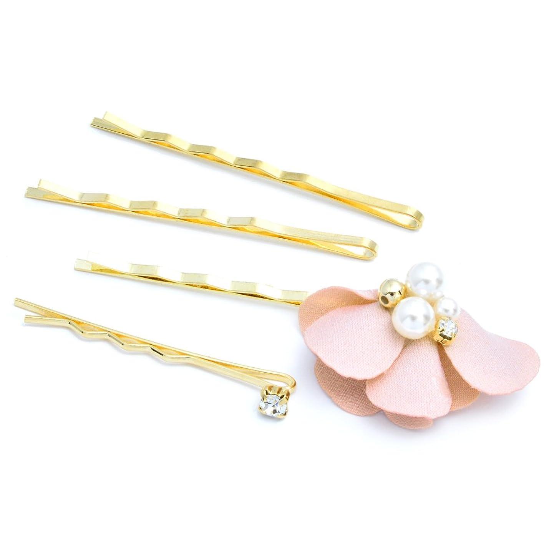 拮抗するくるみ可愛い【plaisir cochon】???????????? パール&花弁4本セットヘアピン/ピンク