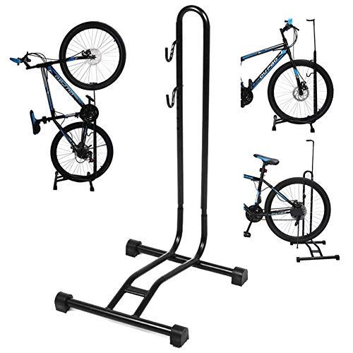 LMIM Fahrradständer, höhenverstellbarer, platzsparender bodenmontierter Fahrradständer für Garage oder Zuhause, Halter Safe Storage Locking Stand für Mountainbikes und Rennräder, Schwarz