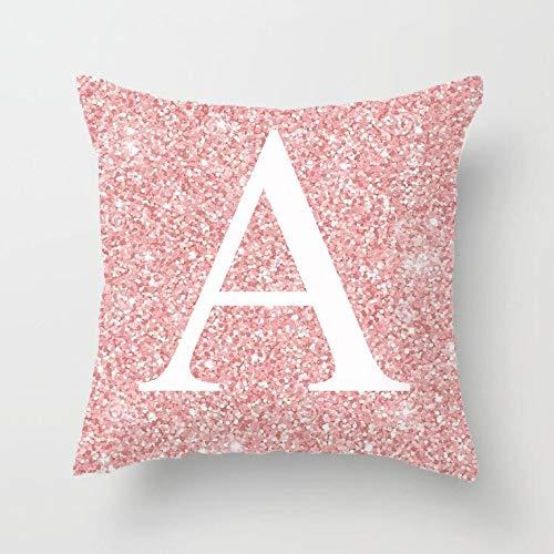 N/V Funda de cojín para sofá cama (45 x 45 cm), diseño de letra rosa