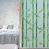 Jzdhlsc Película para Ventana Bambú Verde Autoadhesiva Vinilo Cristal Privacidad Ventana Anti UV Lámina para Electrostática 70x200cm