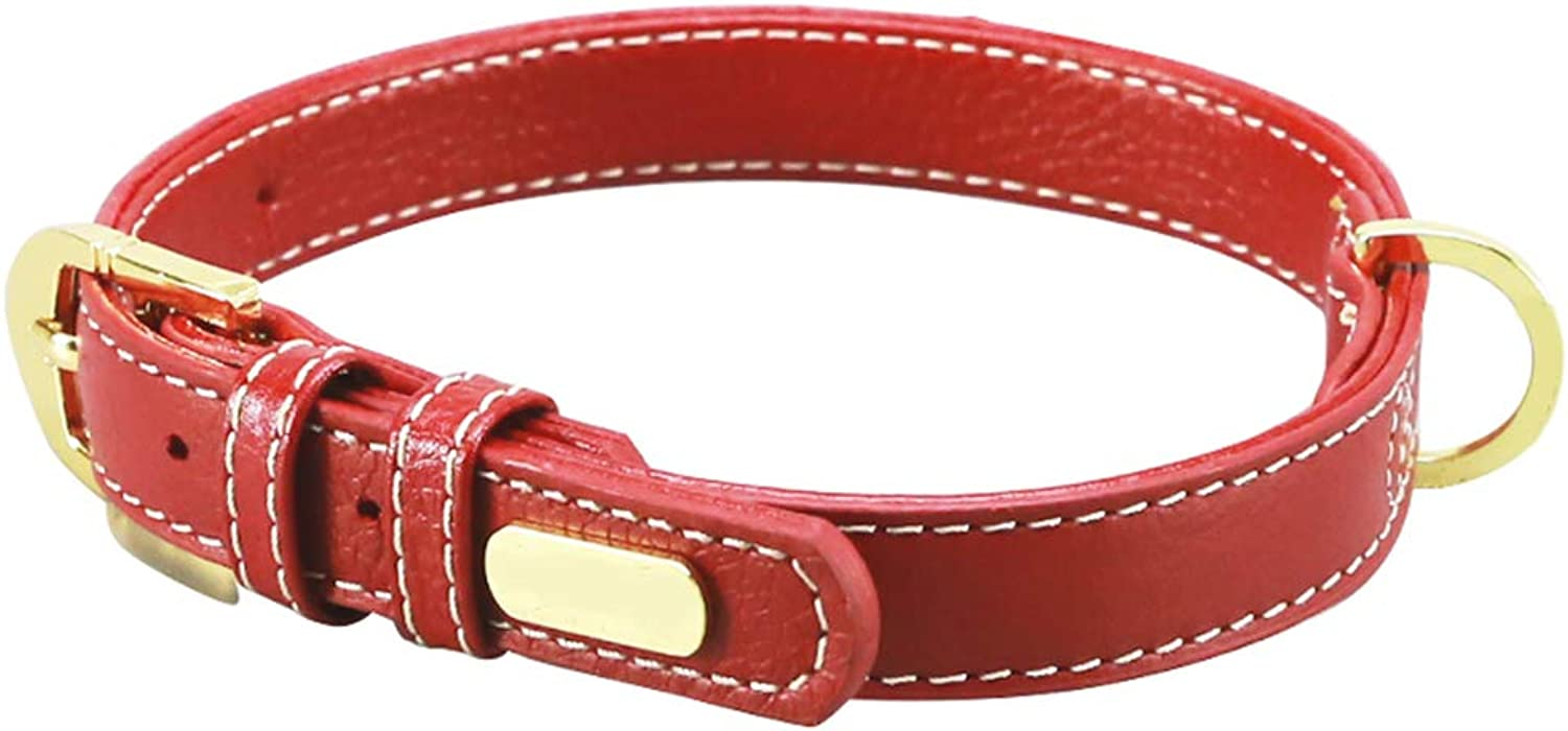Pet Leash Dog Collar, Double Layer Cowhide Smooth Soft Leather Medium Large (color   RED, Size   S)