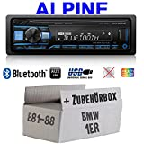 Autoradio Radio Alpine UTE-200BT Bluetooth USB MP3 | 1-DIN PKW KFZ 12V Einbauzubehör - Einbauset für BMW 1er E81 E87 - JUST SOUND best choice for caraudio