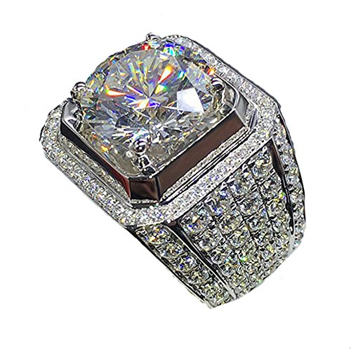 Anillo de compromiso de oro blanco de 18 quilates con diseño de...