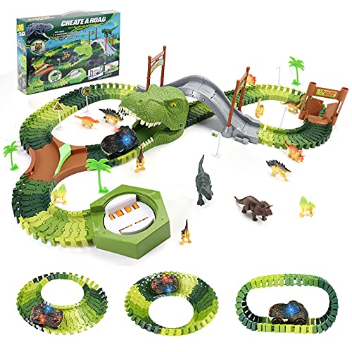 Akokie Dinosaur Toys for Boys Girls Race Track Car Toy 144 Pcs Flexible Tracks 14 Dinosaurs Figures Dinosaur Head & Turntable Toy Car Dinosaur Train Gifts for 3 4 5 6 Years Old Boys Girls