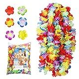 NNDOLL ® 50 Pezzi Ghirlanda Hawaiana Collana Hawaii Hula Leis Fiori Multicolori Estivi Ro...