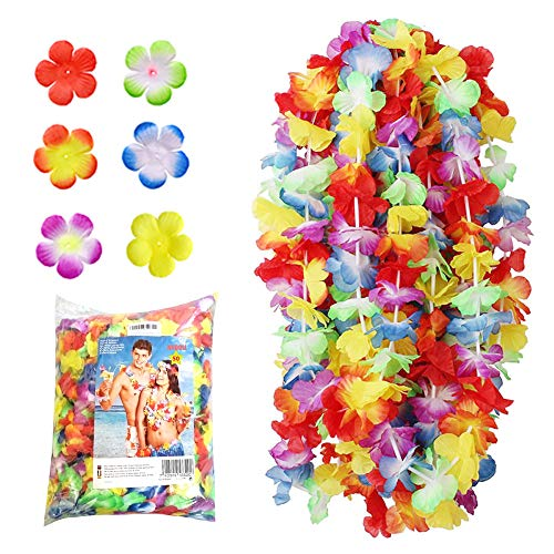 NNDOLL  50 Pezzi Ghirlanda Hawaiana Collana Hawaii Hula Leis Fiori Multicolori Estivi Rosso