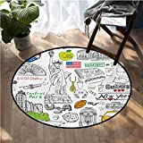 American Round Area Rug Pattern Living Dining Room Round 5ft Diameter New York City Culture Metropolitan Museum Broadway Crossroad Wall Street Sketch Style