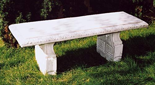 pompidu-living Steinbank PRUDENZINI - Steinbank in Antik Optik für den Garten - Wetterfeste Sitzbank aus Steinguss - Steinmöbel für Outdoor schwarz H 45cm