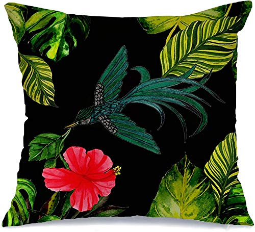 Decoration Linen Decorative Square Throw Pillow Cover Cushion Cover Green Animal Watercolor Tropical Amphibian Nature Bird Celebration Exotic Feather Floral Summer Home Decor for Party 18x18 Inch