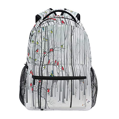 Ombra Backpack Christmas Tree Winter Forest Bird School Shoulder Bag Large Waterproof Durable Bookbag Laptop Daypack for Students Kids Teens Girls Boys Elementary