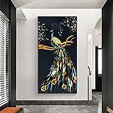 Cuadro en lienzo Pavo real dorado Arte de la pared Obra de arte Pintura Impresiones Carteles Oficina Sala de estar Decoración del hogar 27.5 'x55.1' (70x140cm) Sin marco