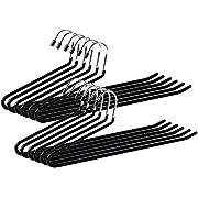 Ohuhu Set of 12 Heavy Duty Slacks/Trousers Hangers Open Ended PantsEasy Slide Organizers, Chrome and Black Friction