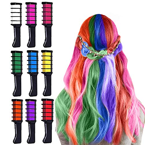 Hair Chalk for Girls Temporary Hair Color Combs for Girls Gifts Toys of Ages 3 4 5 6-8 -10 11 12+ for Birthday Children's Day Gift Halloween Cosplay Party, 9 Colors