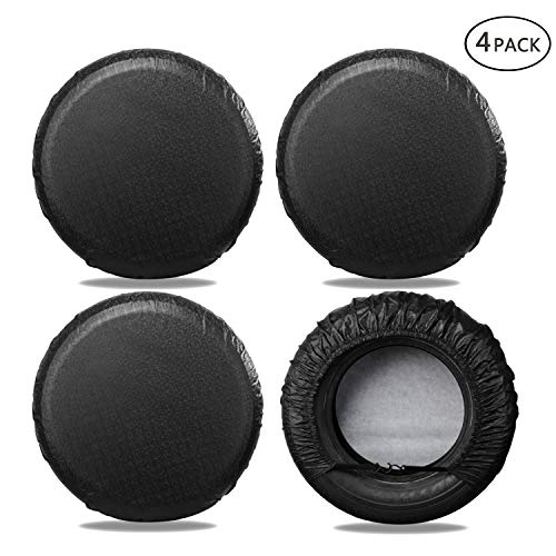 Moonet Tire Covers for RV Wheel (4 Pack Black), Oxford Waterproof UV Sun Protectors for Motorhome Boat Trailer Camper Van SUV,D74cm x H28cm for Diameter 27'-29'