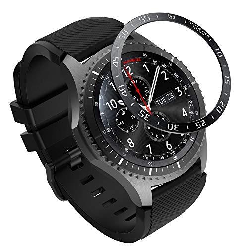 MoKo Ghiera Orologio in Acciaio Samsung Galaxy Watch 46mm/Gear S3 Frontier/Gear S3 Classic, Smart Watch con Numeri Secondi Incisi, Protezione Quadrante Antigraffi, Urti Accessori Orologio - Nero