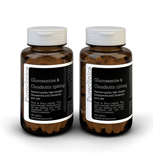 1500mg Glucosamine HLC and Chondroitin x 360 tablets (2 bottles with 180 tablets each - 6 months supply). The most effective and biologically active: Chondroitin 90%, Glucosamine HCL 83.1%. SKU: GC53x2