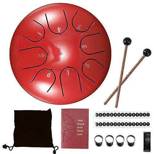 Konesky Stahl Zungentrommel 6 Zoll Hand Pan Percussion Drum 8 Tune Ätherisches Schlagzeug-Instrumentarium mit Trommel Tragetasche, 2 Drumsticks, Übungsheft, 4 Fingerpicks, Rot