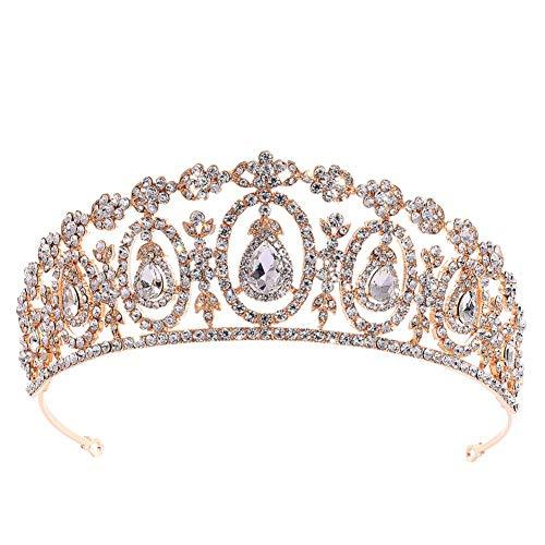 DaoRier Hochzeit Krone Braut Tiara Diadem Mode Klassiker Hochzeit Haarband Braut Krone Haarschmuck für Hochzeiten Bankett Prom (Golden)