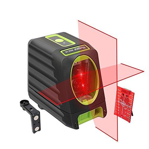Huepar BOX-1R Nivel Láser Rojo, MODO DE PULSO, Pro Precisión: ± 2 mm/ 10m, Autonivelante Líneas Cruzadas, 150° vertical/horizontal, 360° Rotación Soporte Magnético+Carta objetivo+Bolsa Portátil