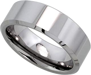 Tungsten Carbide 8 mm Flat Wedding Band Ring His & Hers Mirror Polished Finish Beveled Edges, sizes 5 to 15