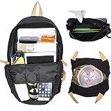 Neuleben Schulrucksack + Kühltasche + Mäppchen Schultaschen 3 Set aus Canvas für Jungen Mädchen Schule Freizeit (Schwarz) - 3
