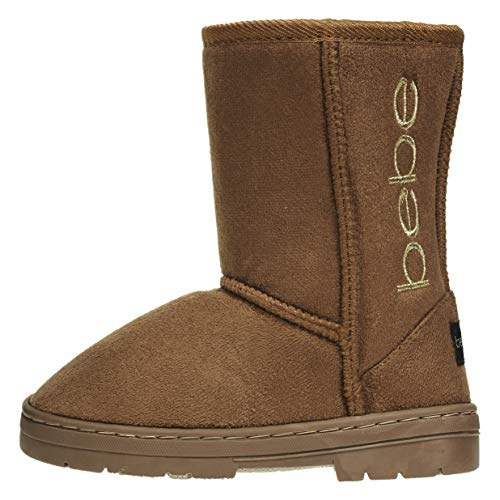 bebe Girls Winter Boots Size 2 Designed with Side Logo Embroidery Casual Warm Slip-On Mid-Calf Microsuede Walking Snow Flat Shoes Cognac/Gold