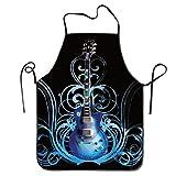 Fs2A1X Personalized Aprons Blue Guitar Decorations Waitress Sexy Kitchen Apron