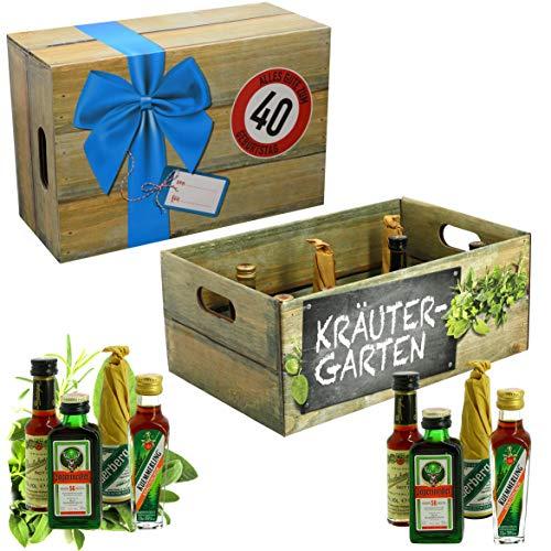 CREOFANT Kräutergarten mit Geburtstagszahl 40. Geburtstag · Witzige Geschenkidee für Männer und Frauen mit Alkohol · 8 x Kräuter-Likör · Hochwertige Geschenkbox · Geburtstagsgeschenk für Männer